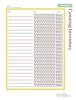 Printable Canning Inventory List  Food Storage Food And