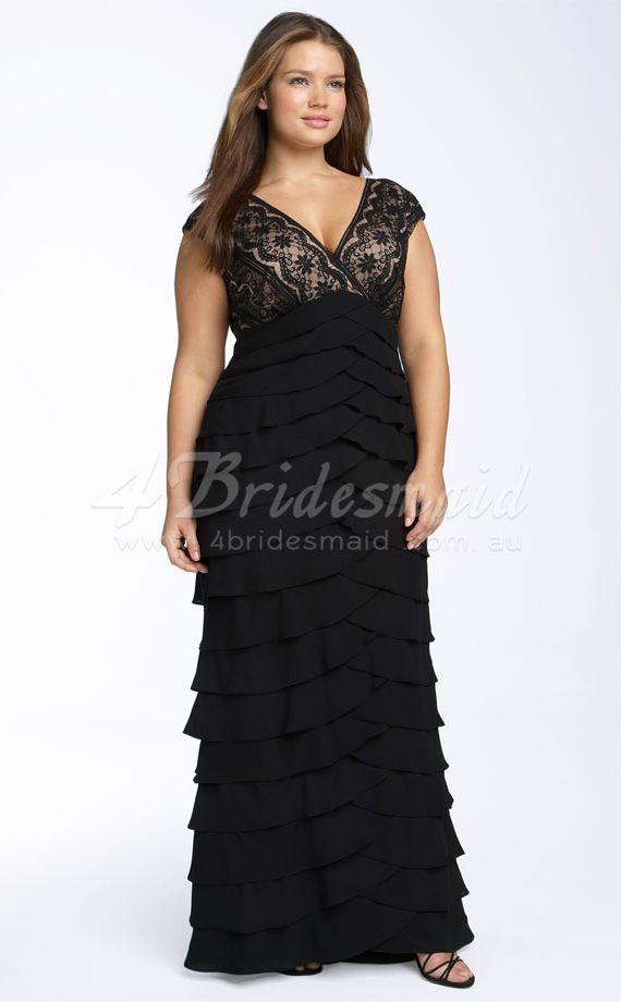 Plus Size Floor Length Black Dress