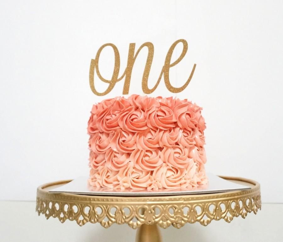 One Cake Topper First Birthday Year Old Rose Gold