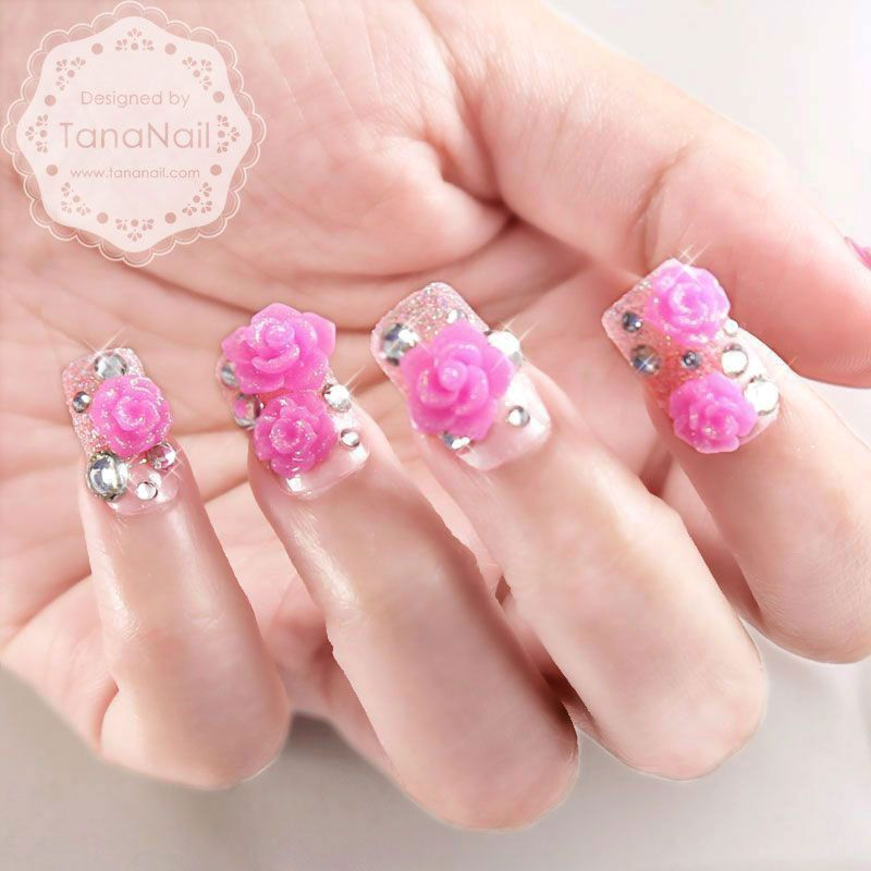 Japanese 3D Nail Art, Press On Nails, False Nails - Hot Pink Rose ...