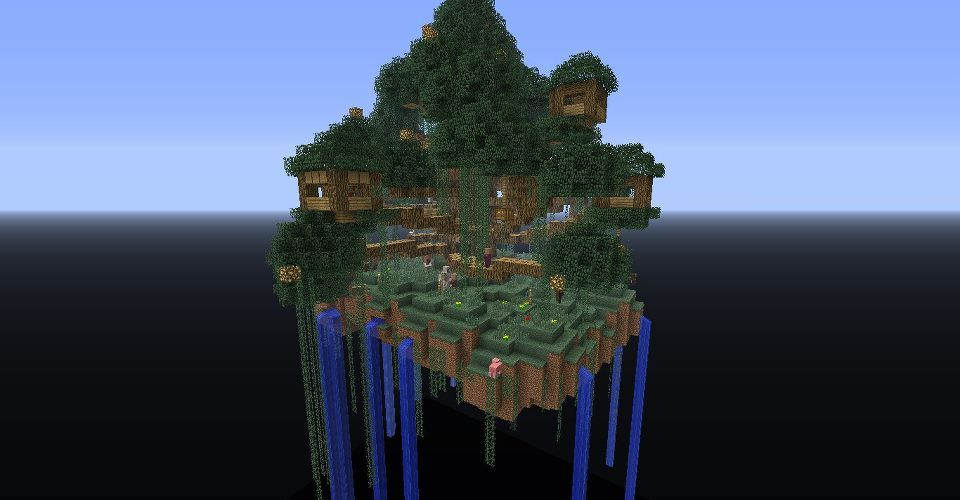 Minecraft Skyblock Treehouse With Images Minecraft Cool
