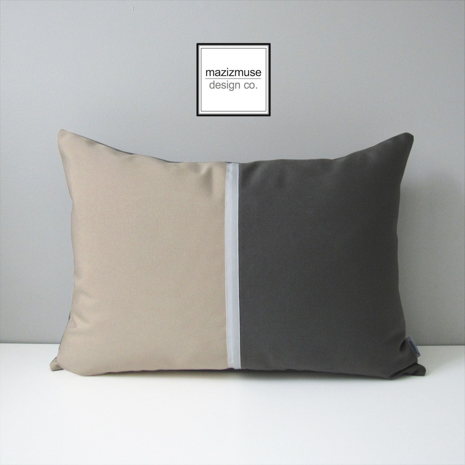 Grey Color Block Pillow Cover Decorative Pillow Cover Modern
