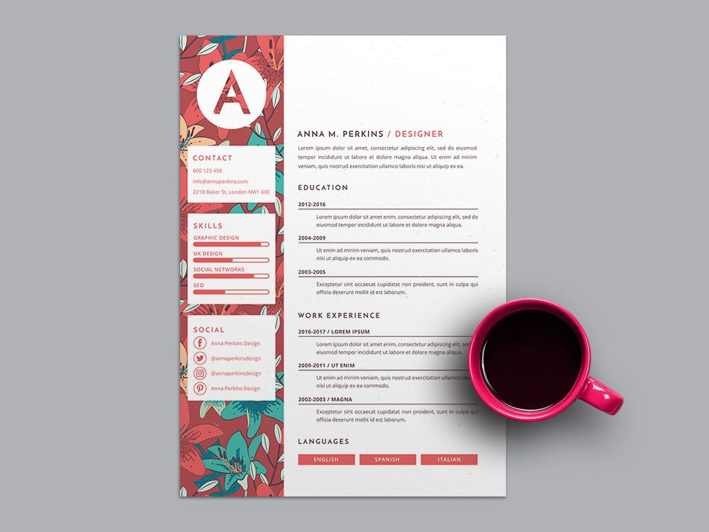 Free Pretty Floral Resume Template - Resume template, Resume template free, Resume design template, Resume templates, Templates, Resume design - Here is free pretty floral resume template with feminine feel  Available in AI file format, you can make your own resume with easy way  It's simple to use you just have to change the profile pict
