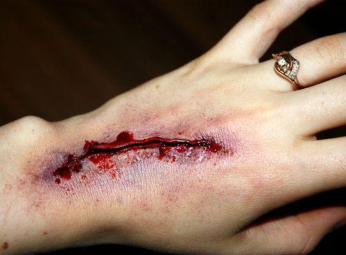 Cut Hand FX Makeup, 2014. Ben Nye Scar Wax, Pros Aide, Ben Nye neutral powder, fake blood, creme colours