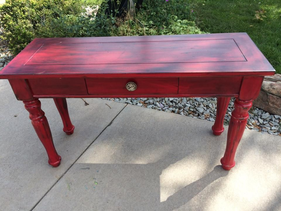Cherry Red Console Table With Black Wash Red Console Table