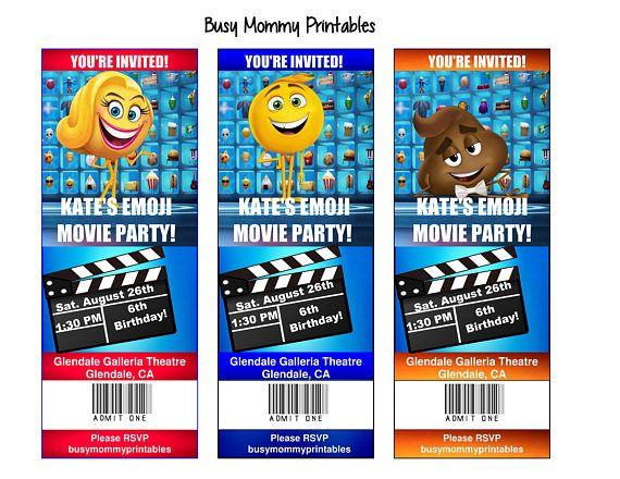Emoji Movie Inspired Party Invitations  Emoji Movie Ticket Invites   Printables  Personalized, FREE Emoji Movie Thank You Card  Movie Ticket Invitations Printable Free