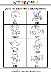 "Matching Rhyming Pictures and Words ??"" Rhyming Worksheet for ..."