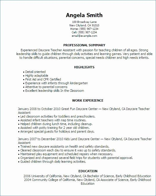 26 Preschool Teacher assistant Job Description Resume
