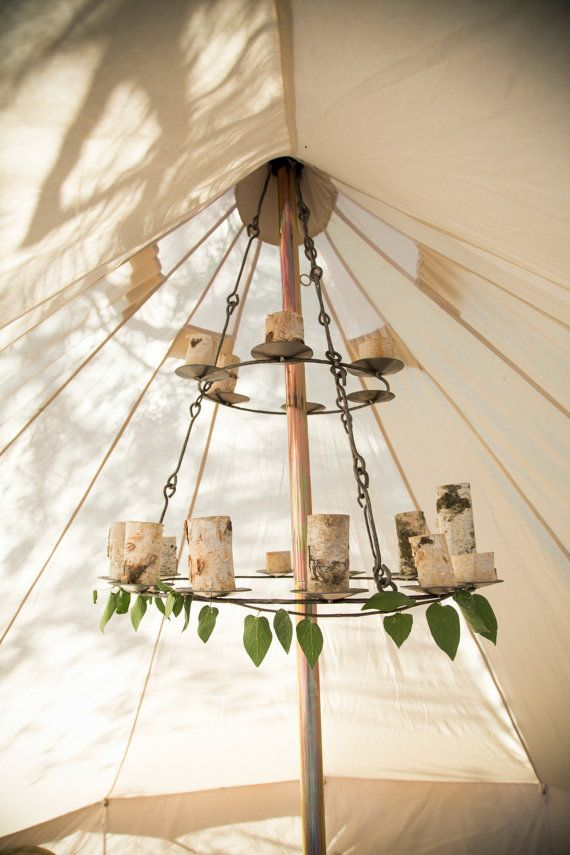 Bell Tent Chandelier Iron Handmade Holds 16 tea by StoutTent & Bell Tent Chandelier Iron Handmade Holds 16 tea by StoutTent ...