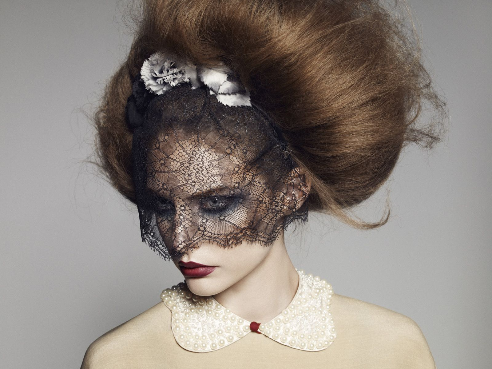 lace mask; giant hair Big hair, Editorial hair, Pretty