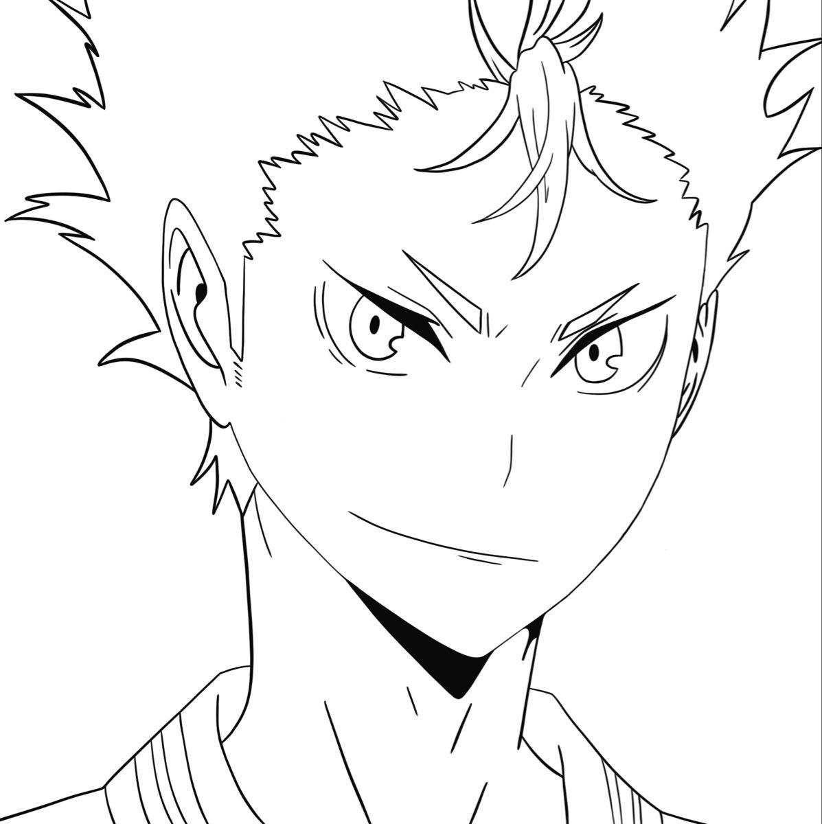 Nishinoya Coloring Page 1 Anime Character Drawing Anime Drawings Sketches Outline Drawings