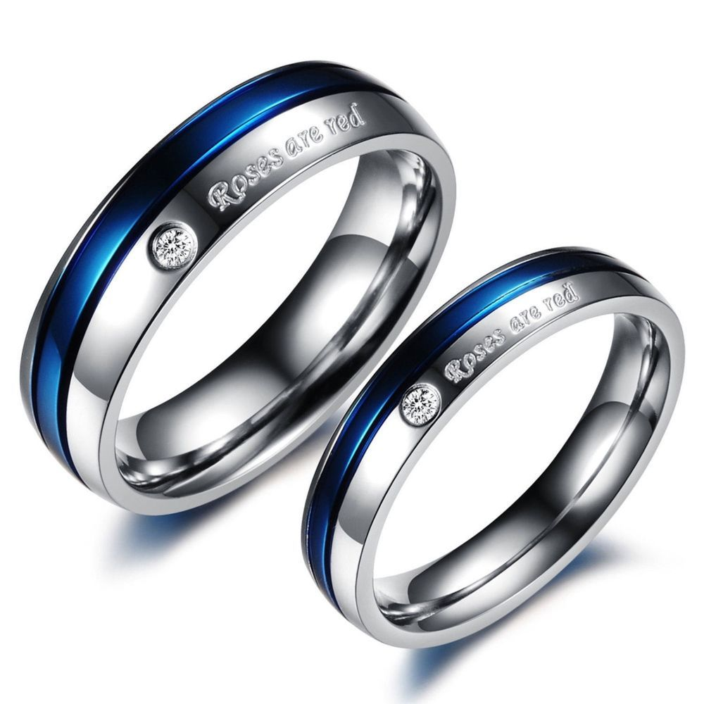 2pcs blue and silver titanium steel couple ring promise