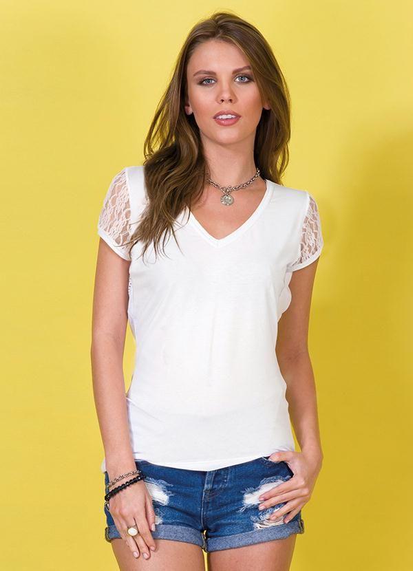 cda7077f8 Blusa Branca Renda Decote V Cobertura - Posthaus