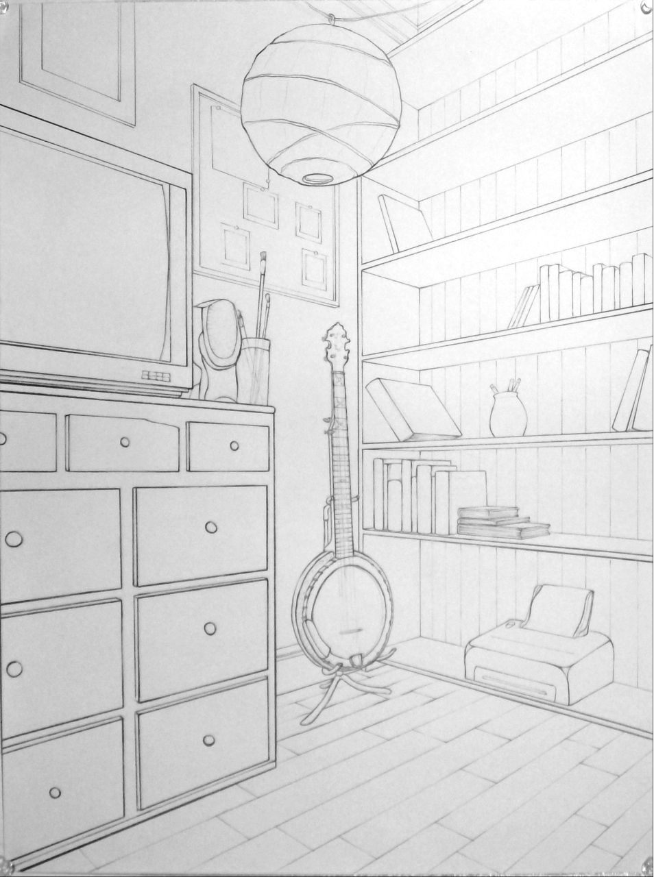 Bedroom In One Point Perspective Interior Drawing Sketch