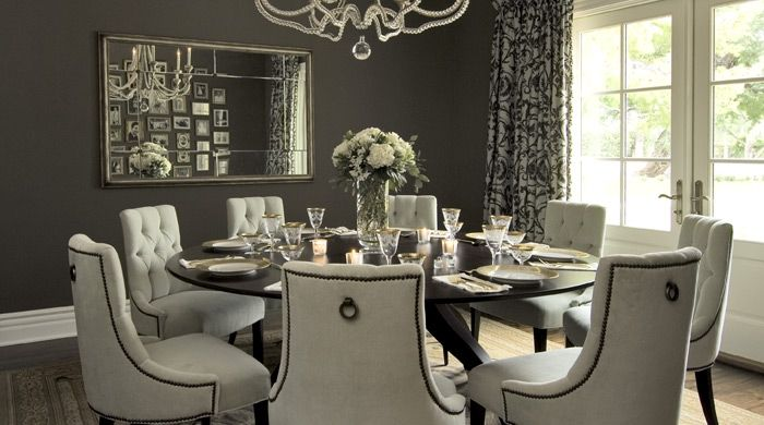I Love This Dining Room... Nothing Beats A Round Table And Upholstered  Chairs