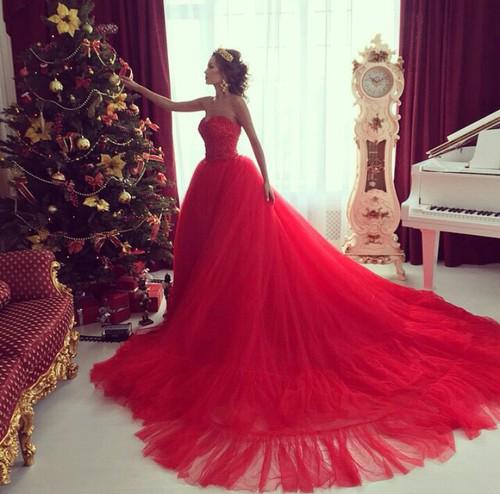 Zovqlər Muxtəlifdir Red Wedding Dresses Red Prom Dress
