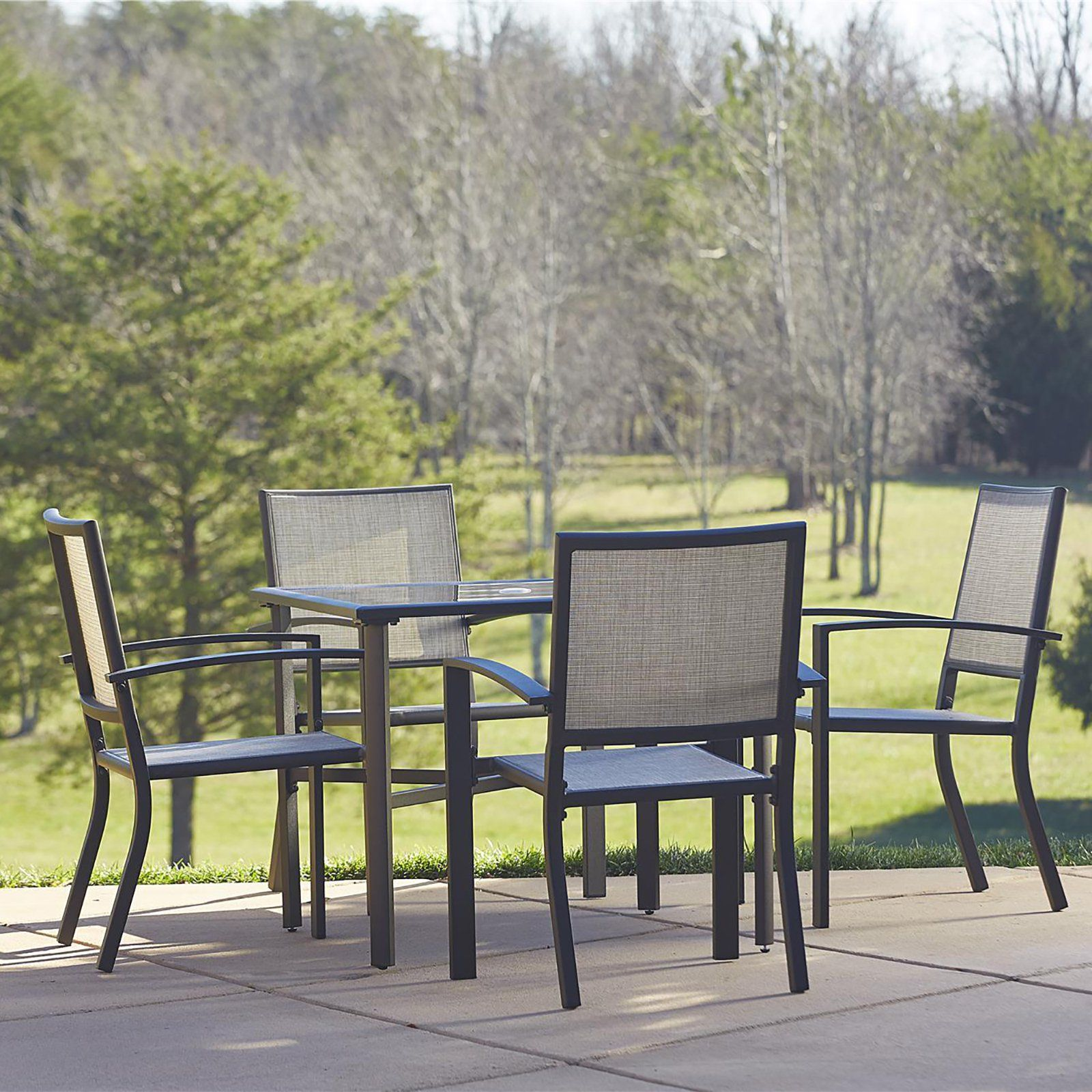 outdoor cosco serene ridge aluminum 5 piece square patio dining set rh pinterest co uk