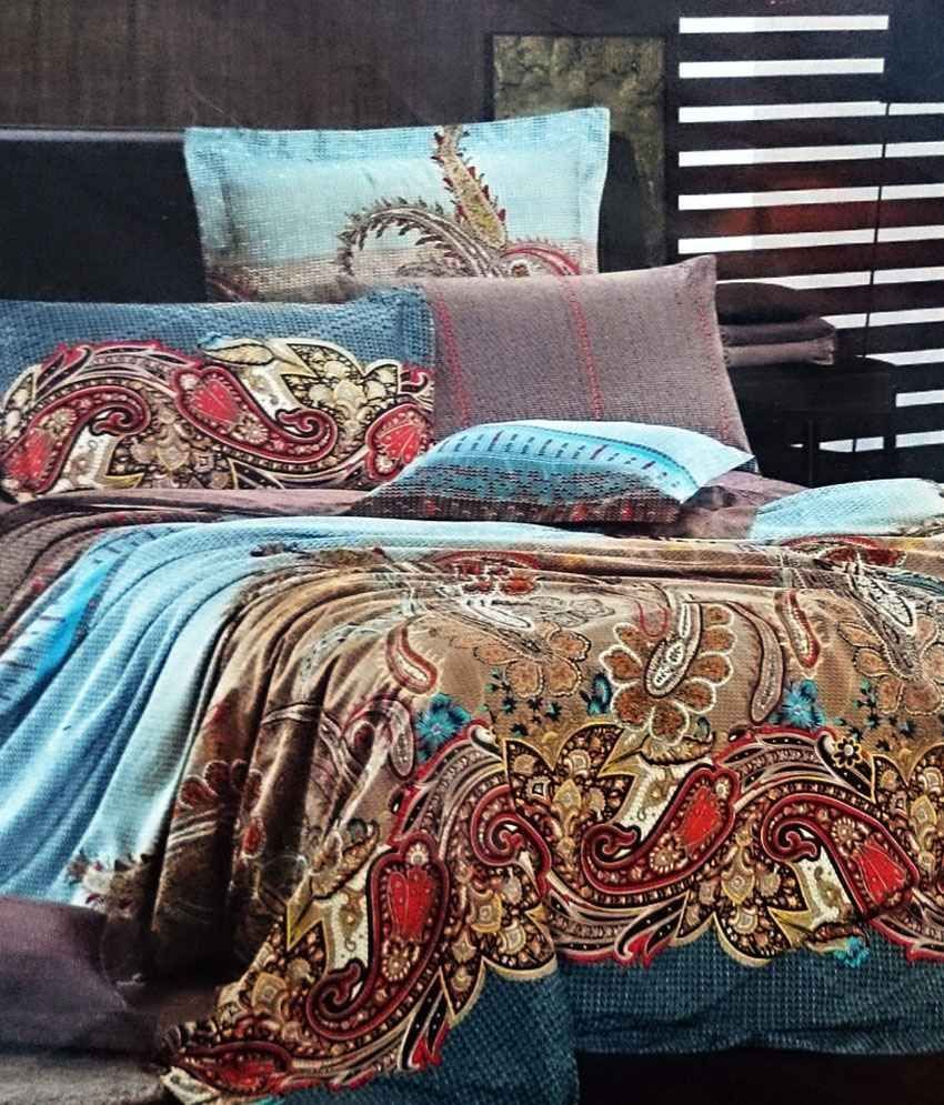 Printed Bed Sheets Designs | Sorry! Jojo Designs Beige U0026 Blue Printed  Cotton Double Bed