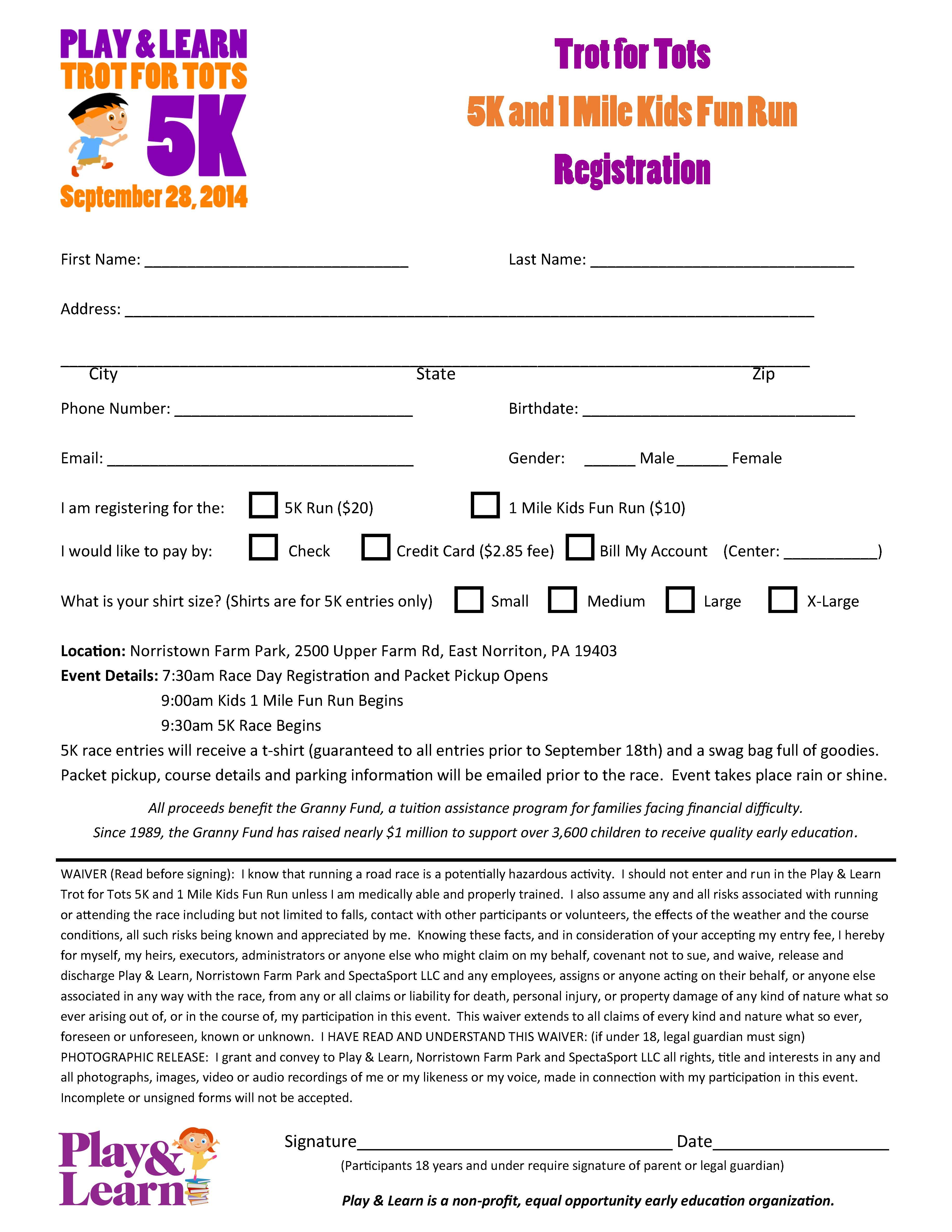 Registration Form for Play & Learns' 5k and Kids Fun Run at the ...