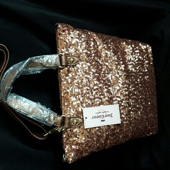Rose Gold Sequin Tote Bag Beautiful sparkling sequin exterior with satin lining inside.  Removable strap for shoulder/Crossbody.  Unused - straps still wrapped Brand New with tags Juicy Couture Bags Totes