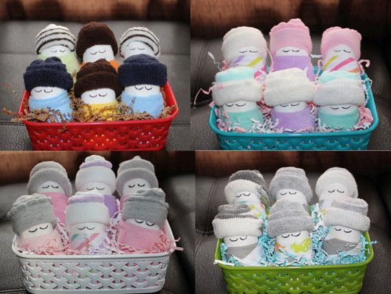 diaper babies gift basket  adorable basket of socks, wash cloths, Baby shower invitation