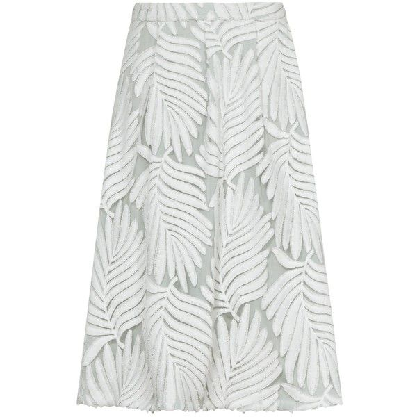 d20036ed932e Reiss Hex Textured Midi Skirt, Off White/Pista (£140) ❤ liked on Polyvore  featuring skirts, off white skirt, midi skirt, knee length a line skirt, ...