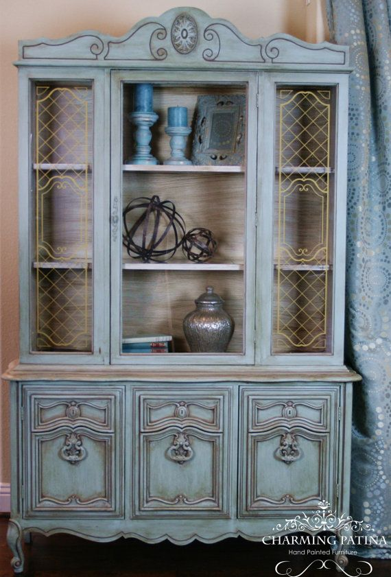 Sold Vintage Blue China Cabinet By Charmingpatina On Etsy