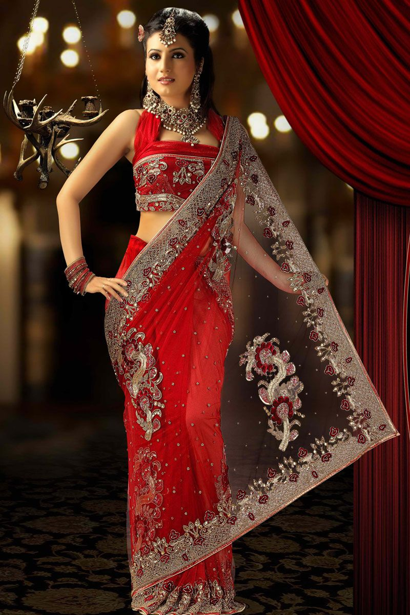Red Net Saree for Wedding Wear and Party Wear Indian