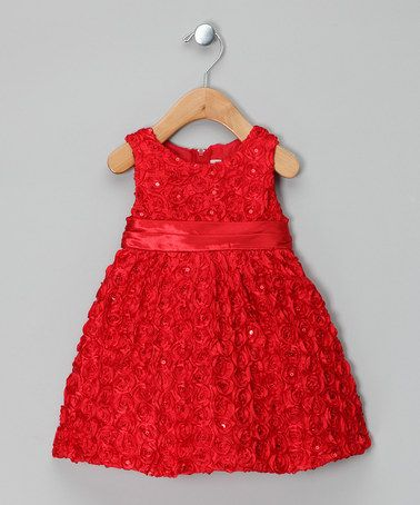 Take a look at this Red Rosette Dress - Infant & Toddler by Rare Editions on #zulily today!