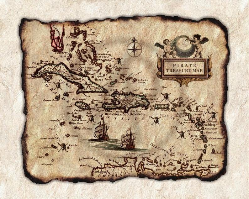 carte au trésor de pirate des caraibes Vieux Pirate Treasure carte Art des Caraïbes, ancienne carte de