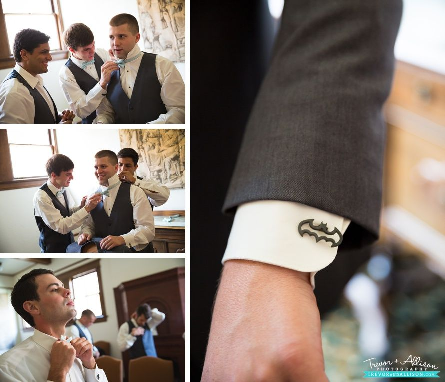 Add some small details to the guys outfit like this Batman cufflink! - Trevor + Allison Photography - Ocala Wedding Photography Photos