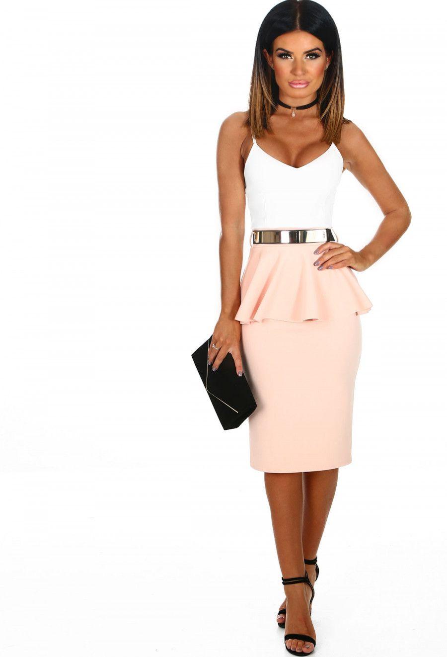 e7962097f Cutie In Contrast Nude and White Peplum Midi Dress | Pink Boutique