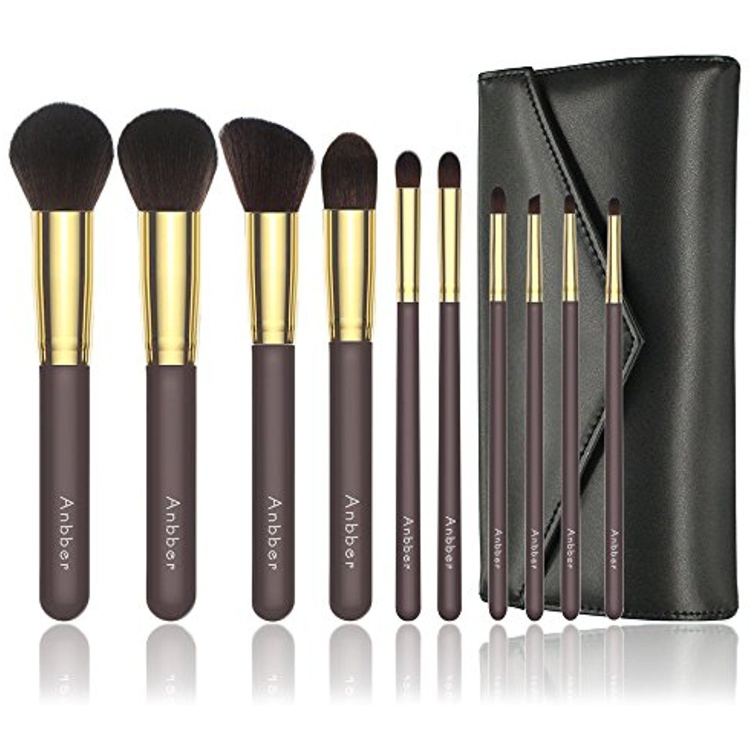Makeup Brushes Anbber 10Pcs Makeup Brush Set With Makeup Bag