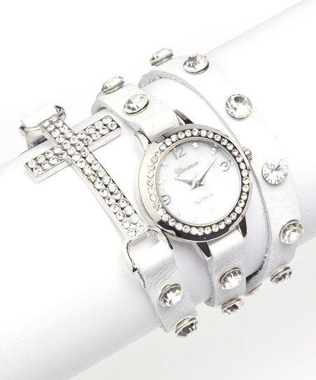 White & Silver Rhinestone Cross Wrap Watch