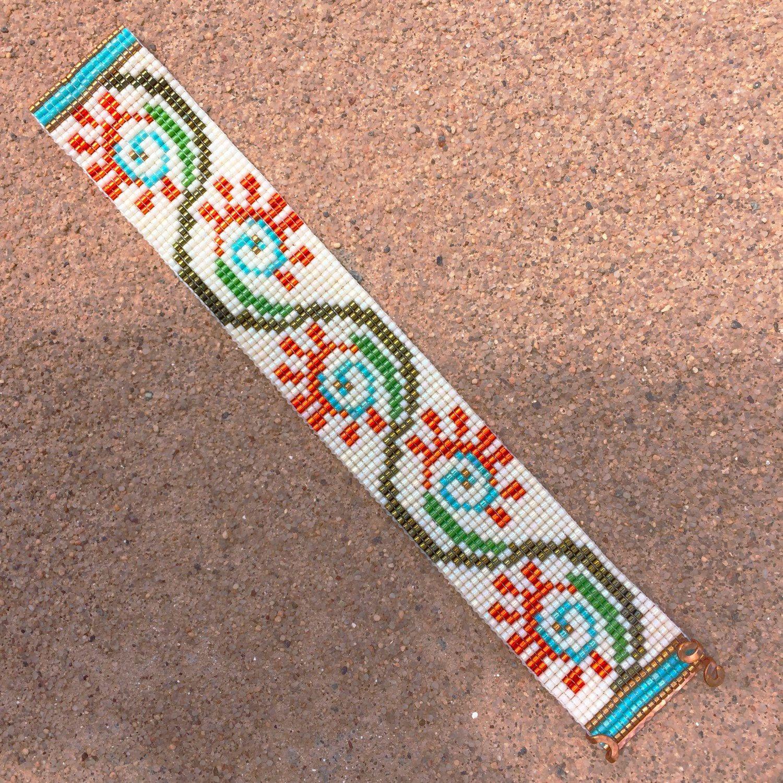 Fiesta flora bead loom bracelet artisanal jewelry by for Thunderbird jewelry albuquerque new mexico