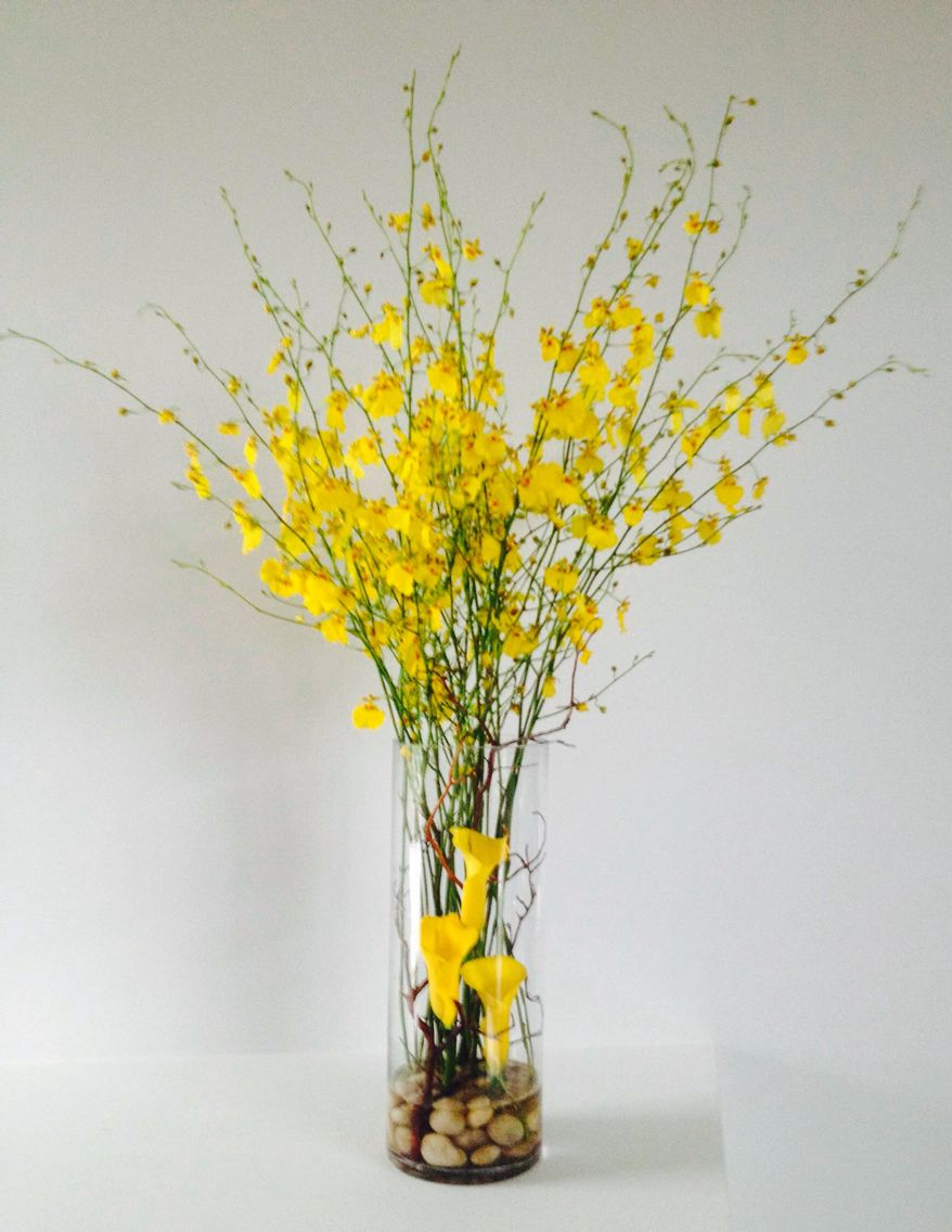Yellow orchids u calla lily modern arrangement the orchids