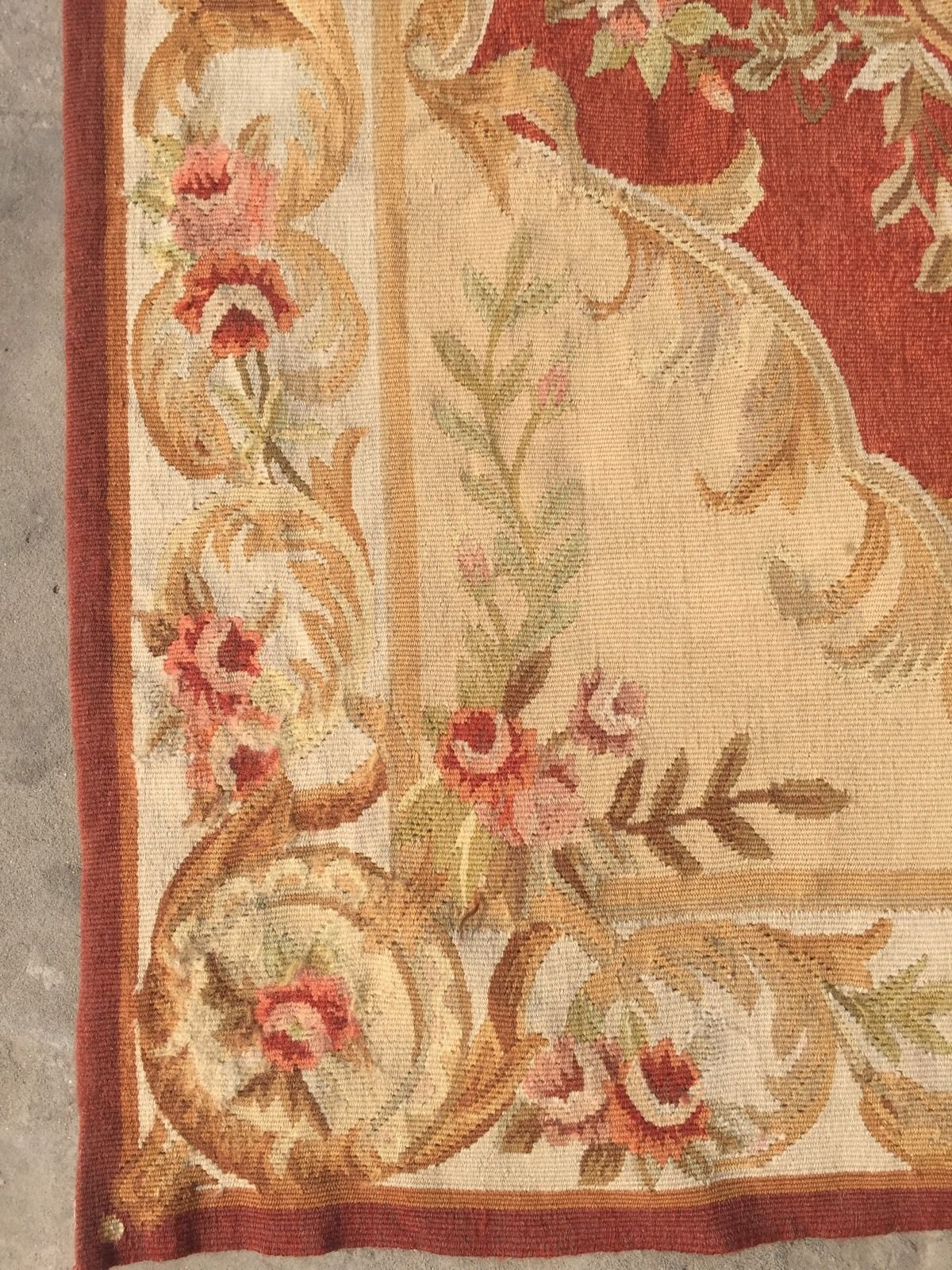 Old Handmade French Design Original Wool Aubusson Rug Tapestry 90 X 150 Cm 275 00 Picclick Uk
