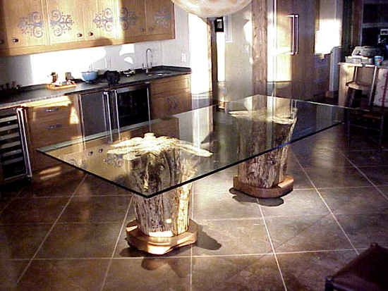 Twin Stump Glass Top Tables Glass Top Dining Table Dining Table Glass Top Table