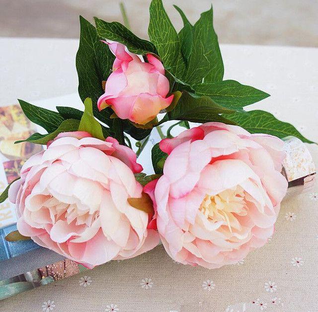 Silk Artificial Peony Flowers flores artificiais para decora o artificiales for Home wedding decoration fake Flower cheap