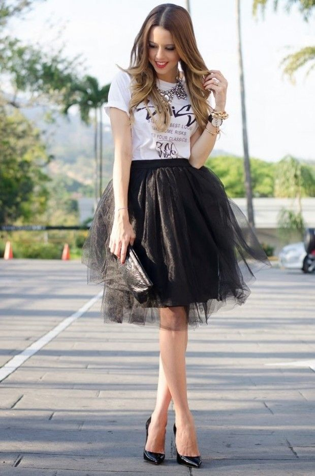 94df629b7fc94 How to Wear a Tulle Skirt: 17 Ideas | Women Work Outfits | Tulle ...