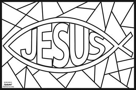 Stained Glass Ichthus Sketch Coloring Page Sunday School