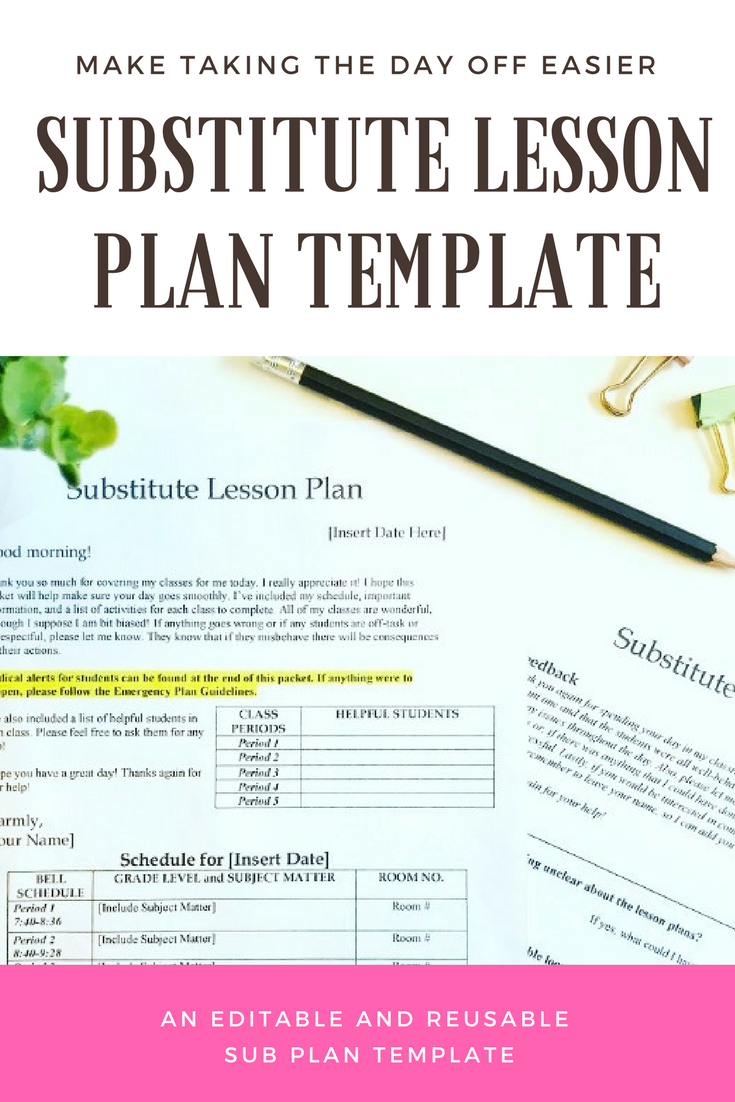 Editable And Reusable Substitute Teacher Lesson Plan Template