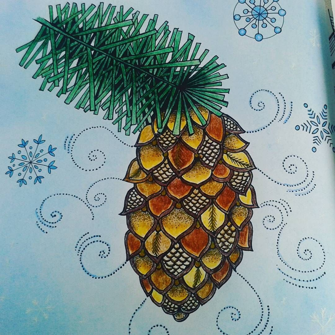 Fir cone from Mein Winterspaziergang by Rita Berman. Coloured with Faber Castell Polychromos and Uniball Siglo Gold, Faber Castell soft pastels for the background. #ritaberman #meinwinterspaziergang #festivecoloralong #adultcolouringbook #coloringbookforadults #coloring_masterpieces #coloring_repost #fang_colourful_world_999