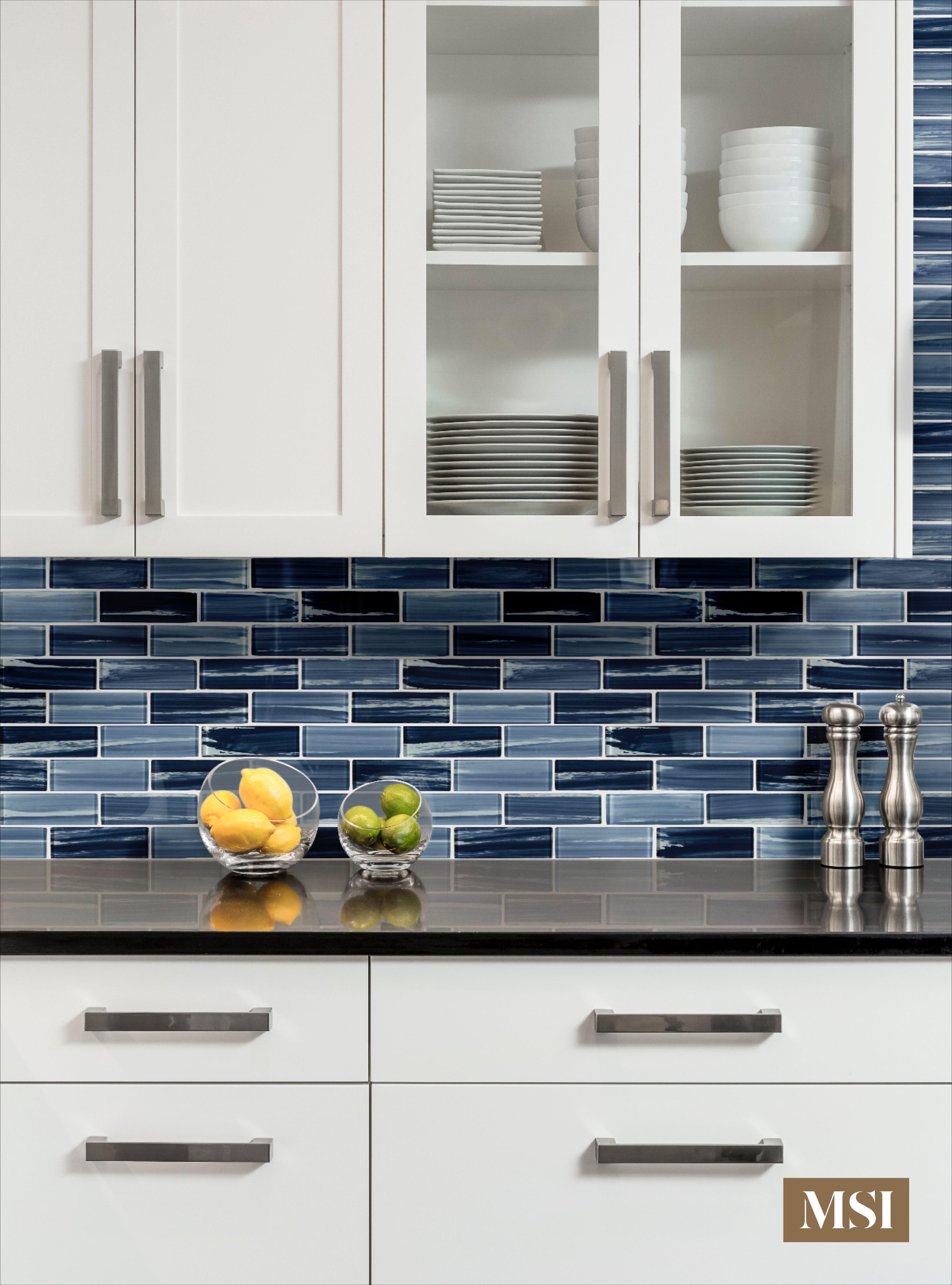 Oceania Azul Glass Subway 2x6x8mm Blue Backsplash Kitchen Tiles Kitchen Remodel