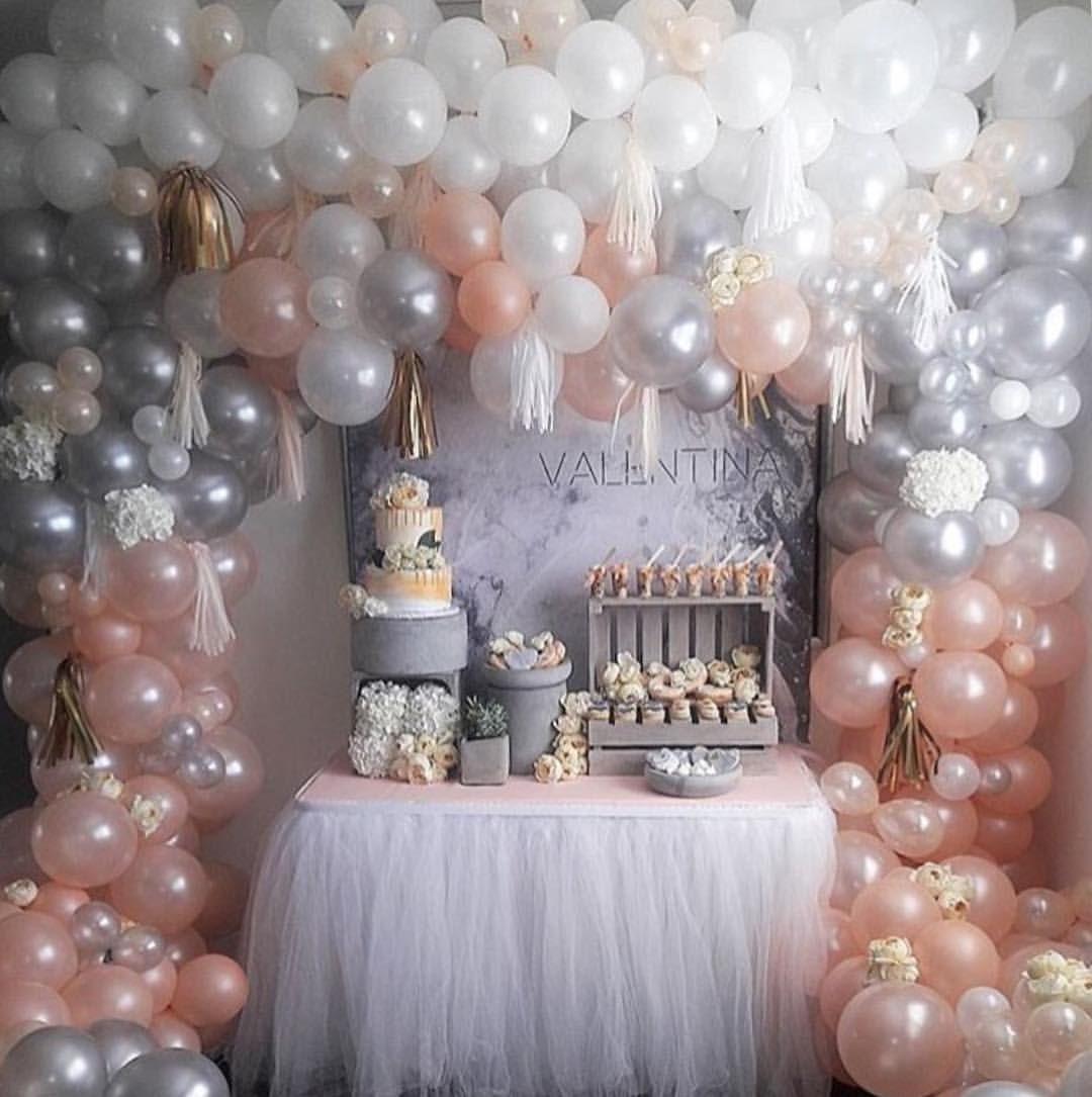 Balloon Decor Blush White Silver 1st Birthday Party For
