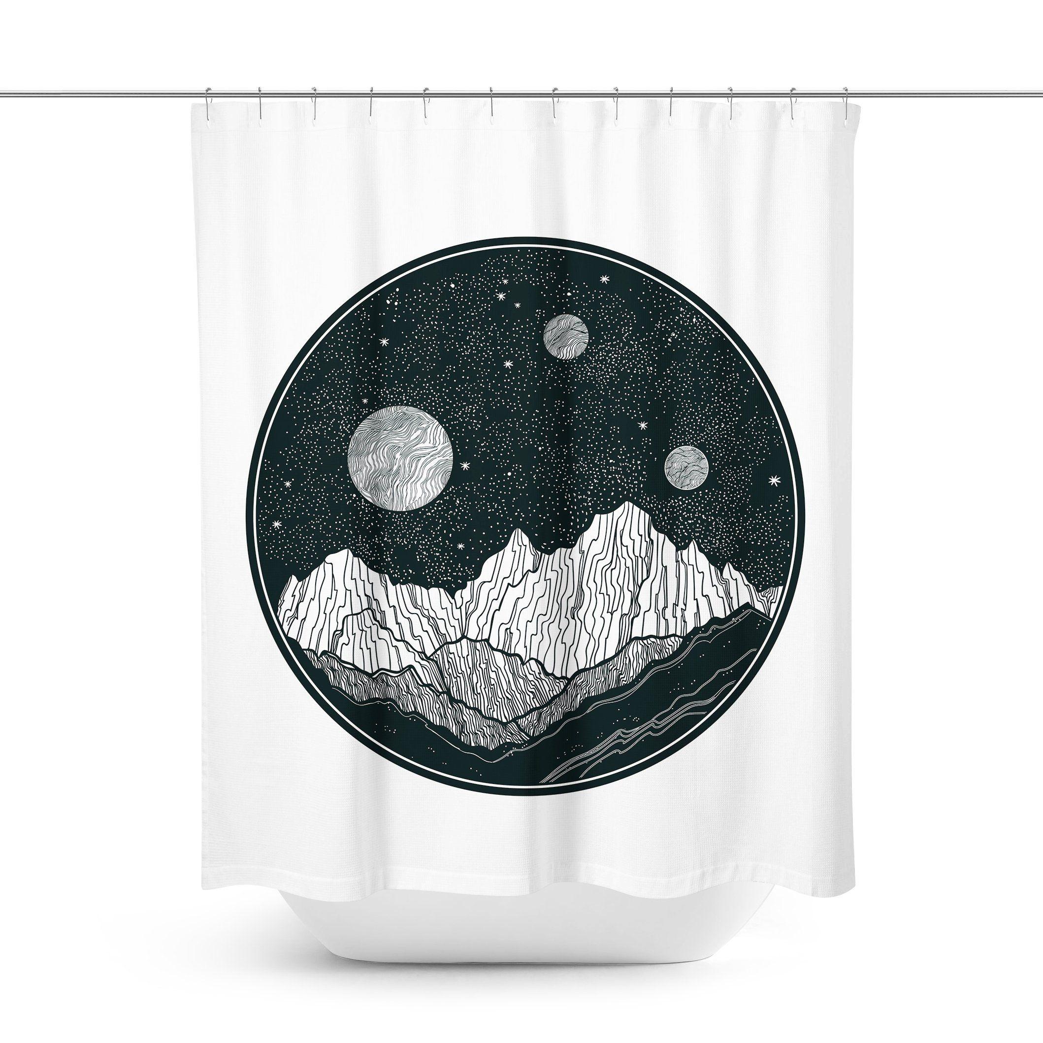 Mountain Night Sky Shower Curtain Curtains Night Skies Sky