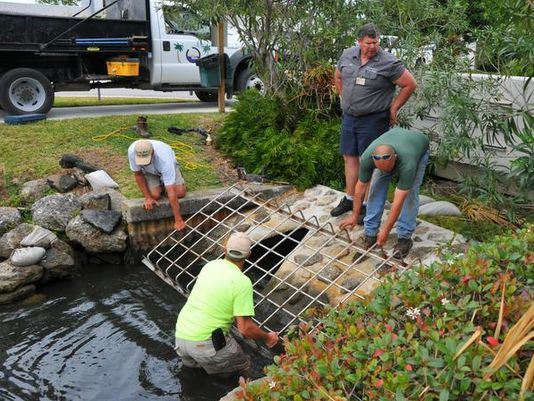 Satellite Beach installs drain gate - http://www.floridatoday.com/story/news/local/2015/02/24/biologists-still-lookout-stranded-manatees/23933255/