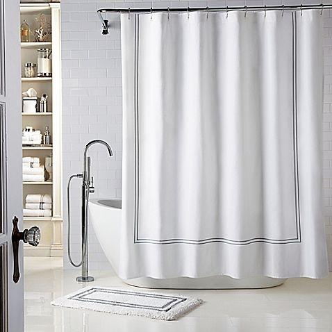 Wamsutta® Baratta Stitch 72-Inch x 72-Inch Shower Curtain in White ...