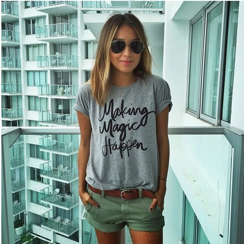 0812f53c73c Women s Summer street style Letter Printing O-Neck T-Shirt Brand Design Short  Sleeve Tops T Shirt Plus Size T7-8