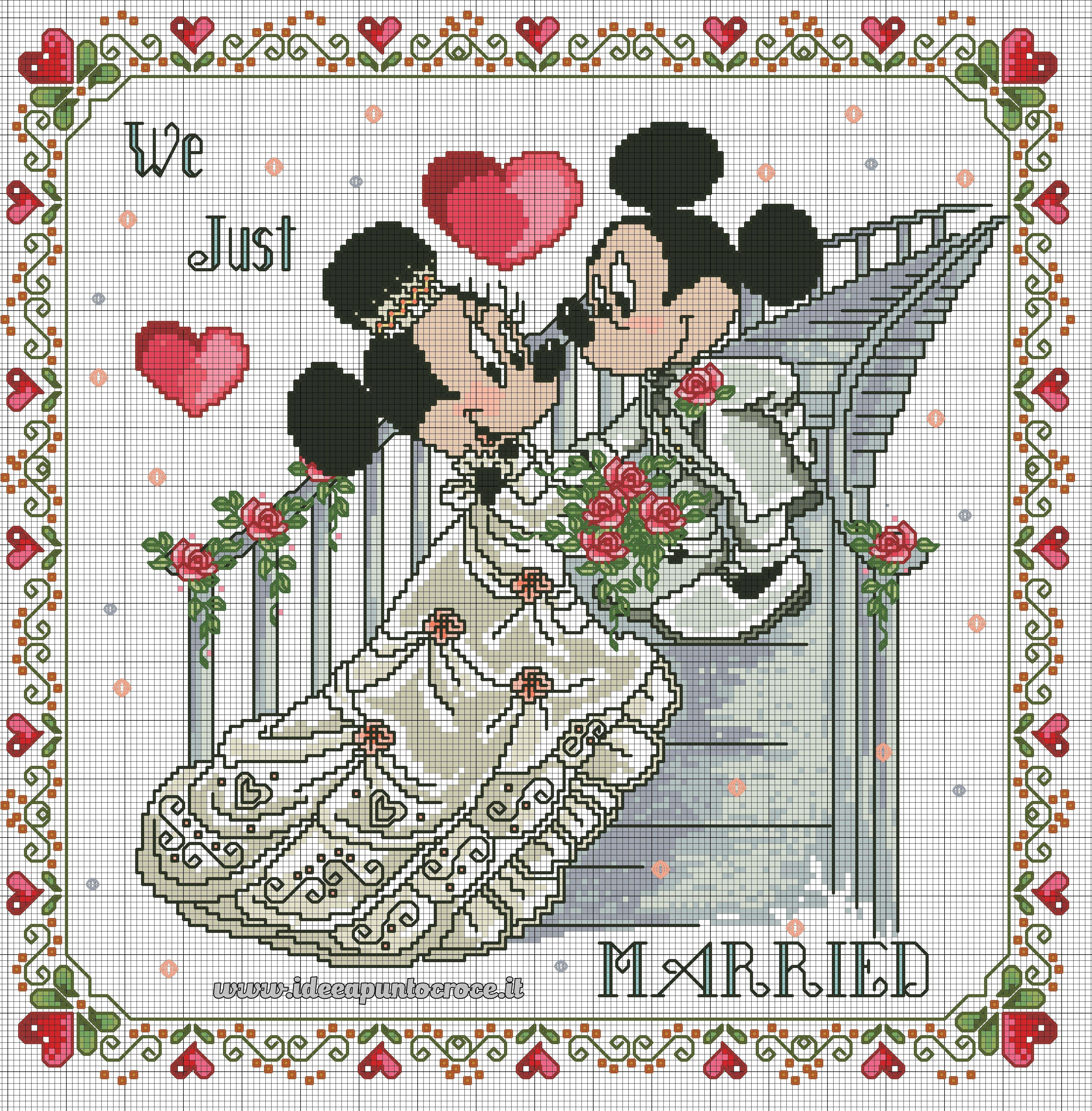 Minnie E Topolino Sposi Punto Croce Cross Stitch Cross Stitch